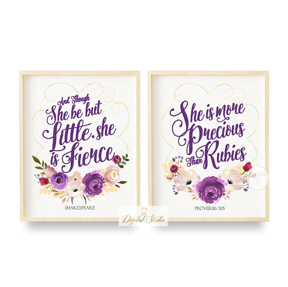 Though She Be But Little She Is Fierce Bible Verse Wall Decor