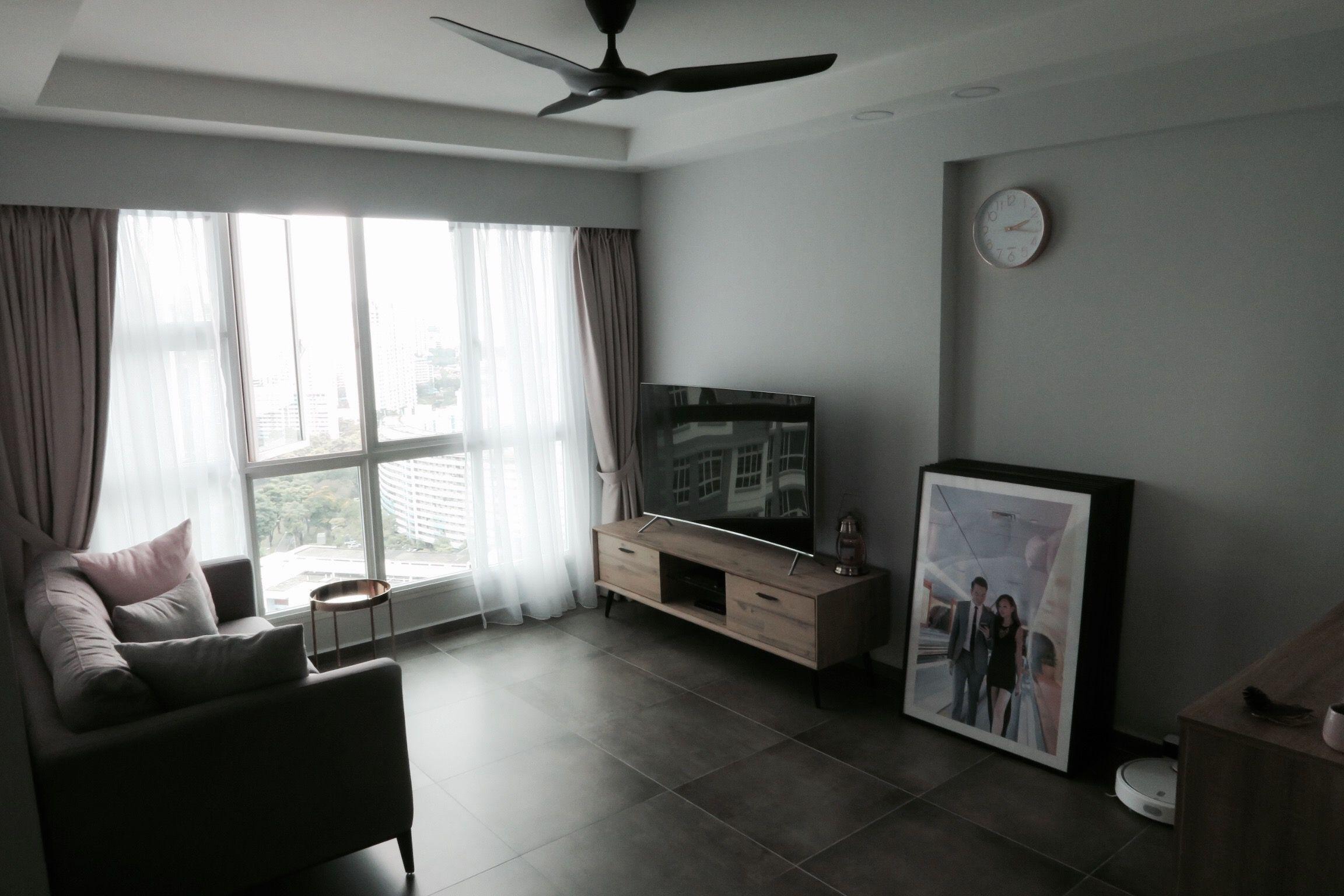 Grey Blush Living Room Cement Tiles Minimalist Modern Scandi Clean Simple Haiku Fan Hdb Bto Singapore