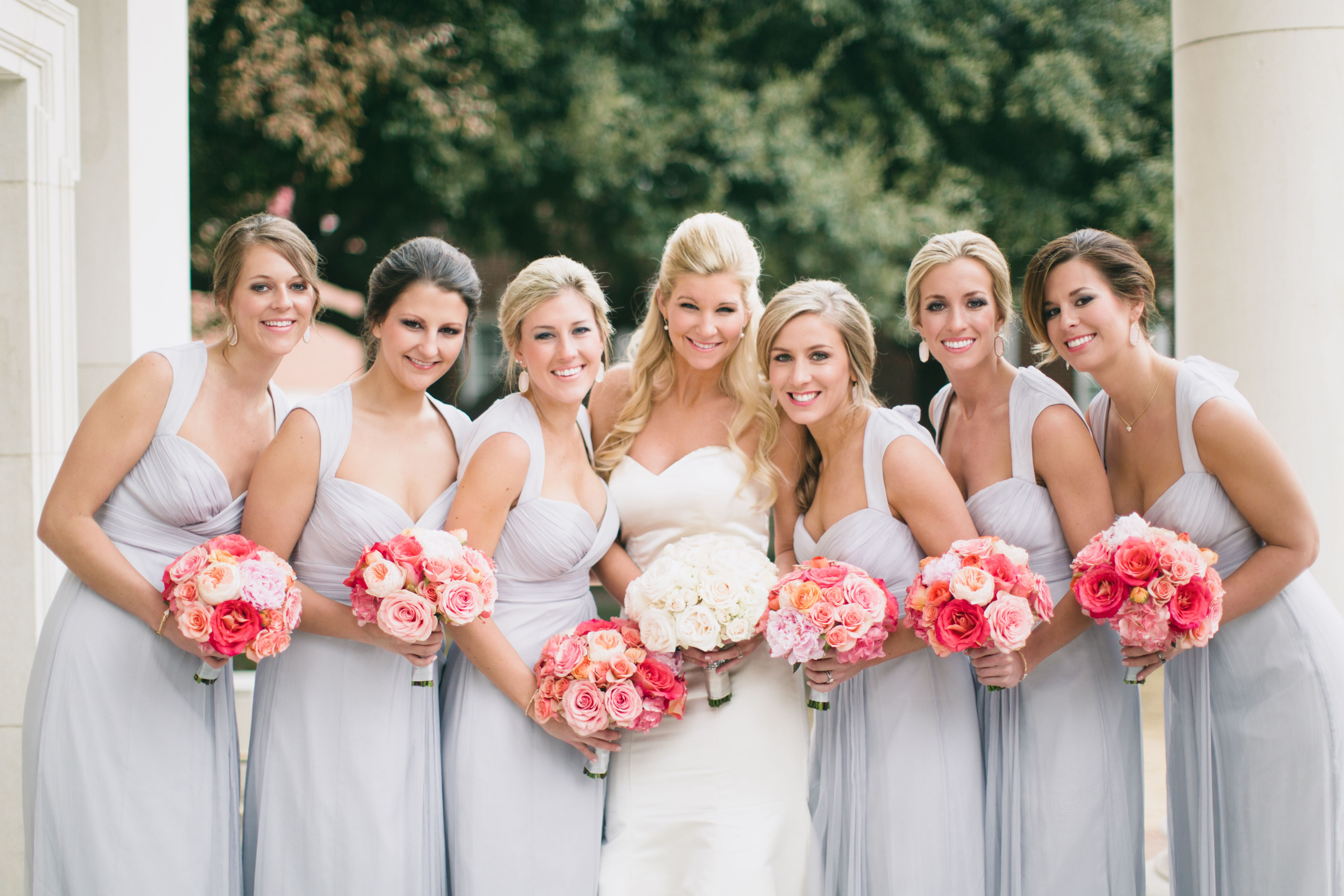 Pops of pink for bridesmaids bouquets branching out floral design