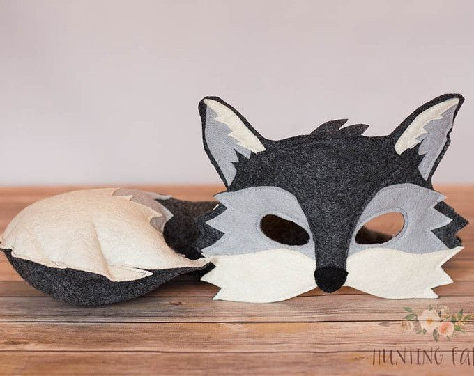Silver the Grey Fox Mask and Tail Pretend Play Costume Woodland & Silver the Grey Fox Mask and Tail Pretend Play Costume Woodland ...