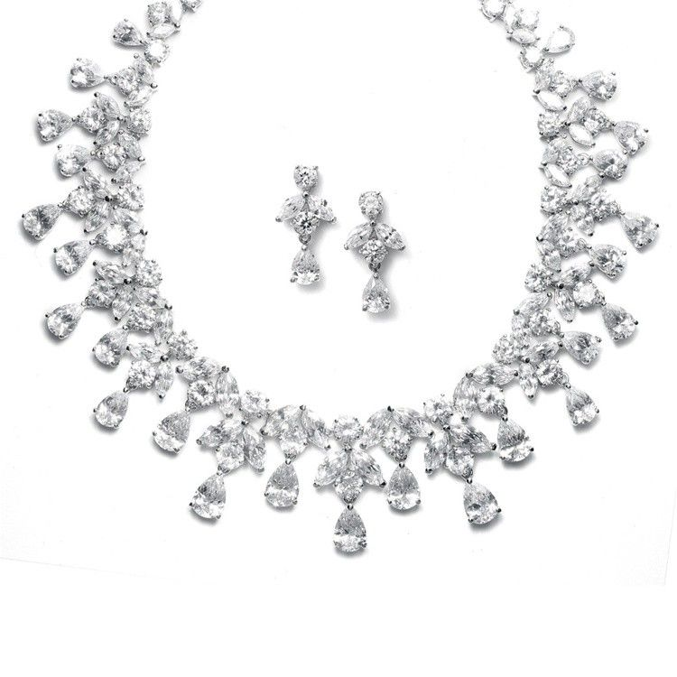 Studio K Bridal Jewelry - Grace CZ Bridal Necklace Earring Set,