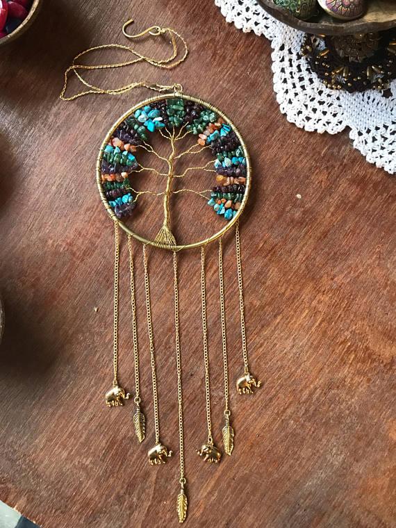 Tree Of Life Gemstones Dreamcatcher Gold Arbre Brass Wall Hanging