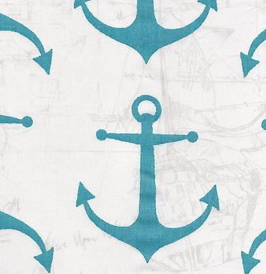 ANCHORS Nautical Sketch Coastal Blue or Yellow Cotton Duck Fabric U Choose $10.49