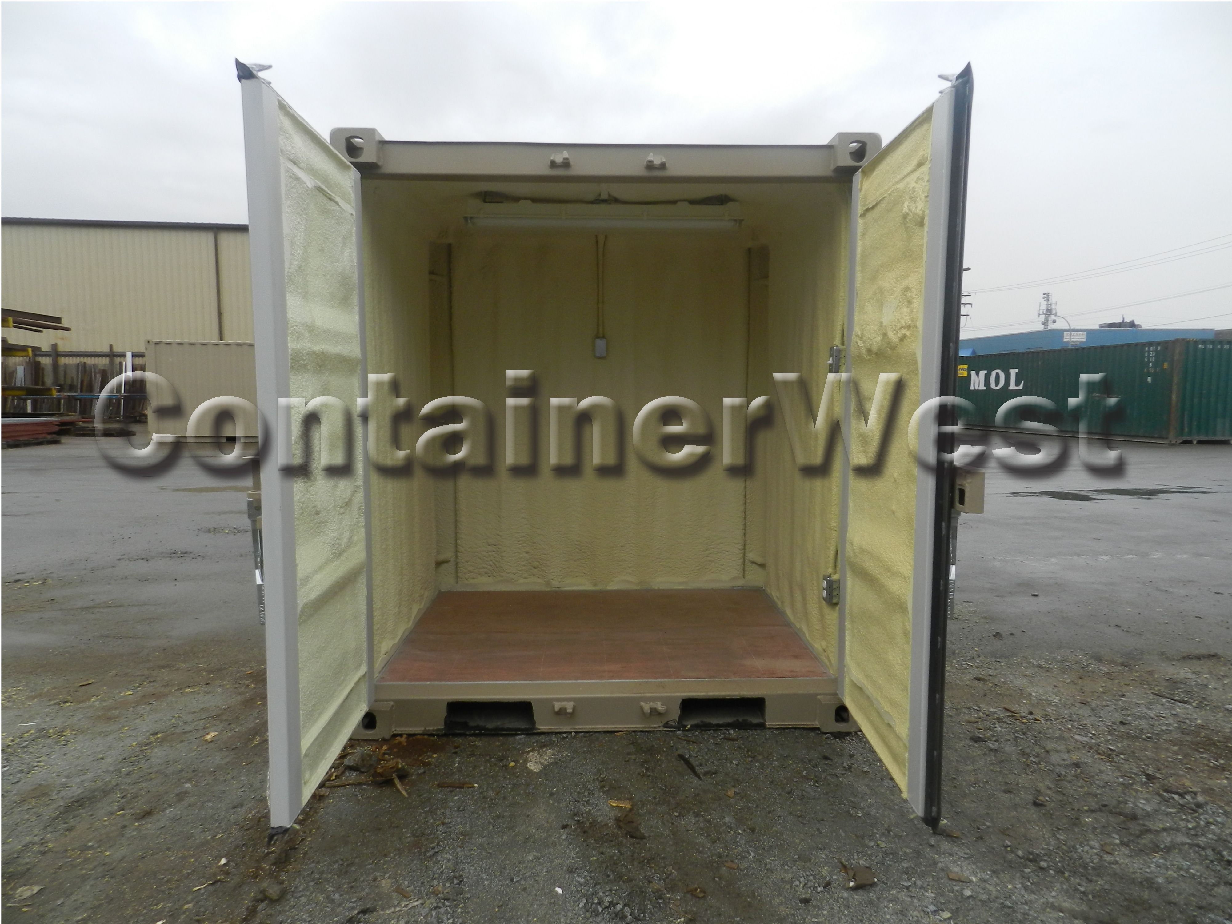 Mini container with lights and spray foam insulation. The
