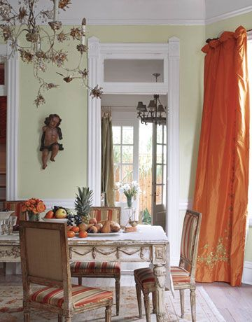 French Neoclassical Dining TableI Indian Silk Curtains I Designer Karyl Pierce Paxtons Home