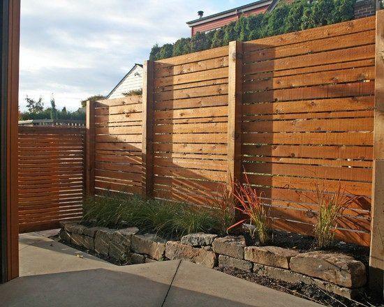 modern house landscape front yard privacy garden fence wood