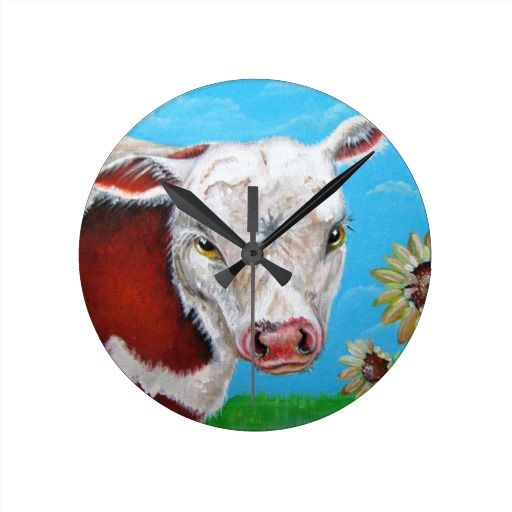 Cow and Sunflowers Round Wall Clock