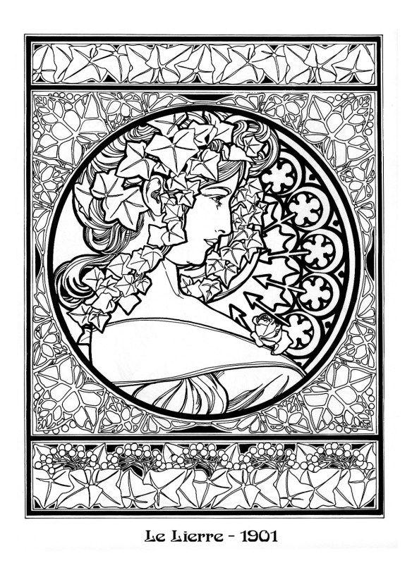 Icolor art nouveau icolor art nouveau pinterest for Art deco coloring pages for adults