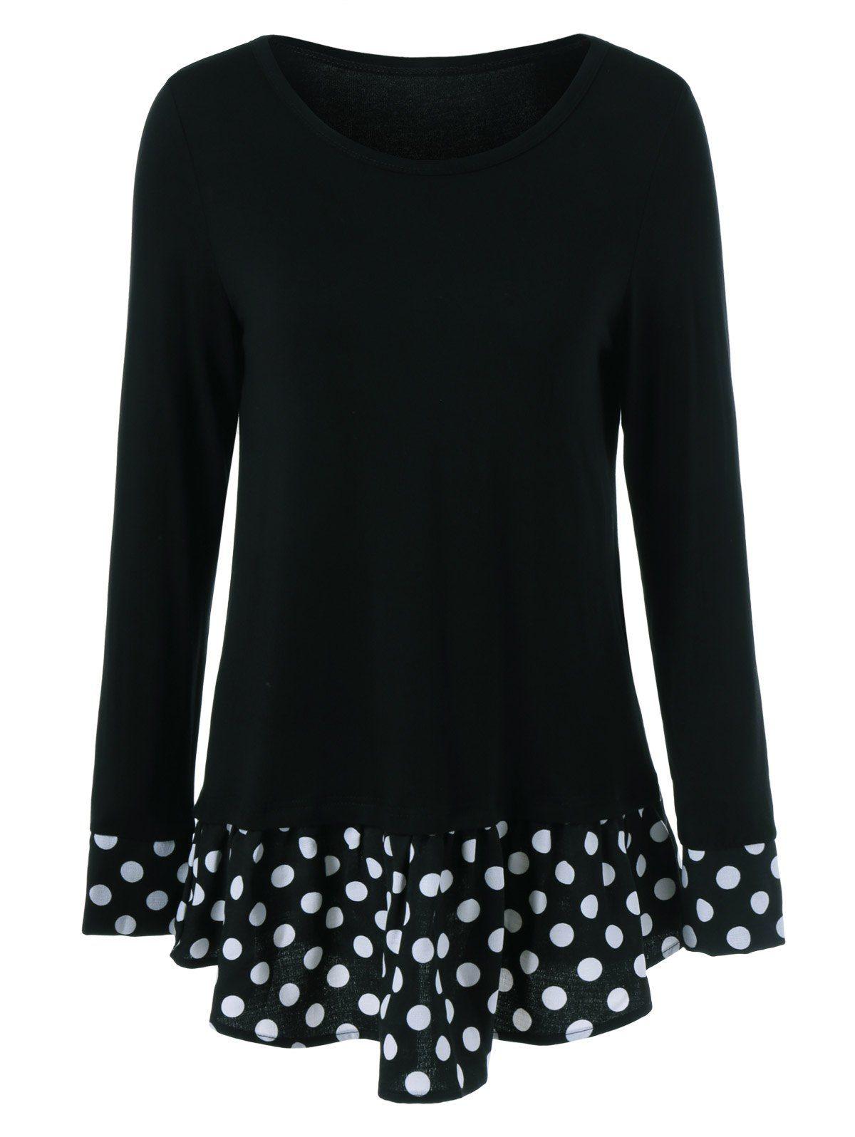 $9.47 for Flounced Polka Dot Patchwork T-Shirt in Black | Sammydress.com