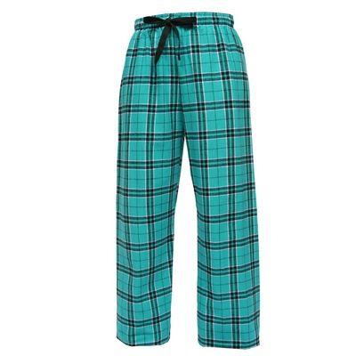 F19 Boxercraft Teal & Black Plaid Tie-Cord Waist Flannel Pants | College University Customized Flannel Pants | High School Sportswear Apparel