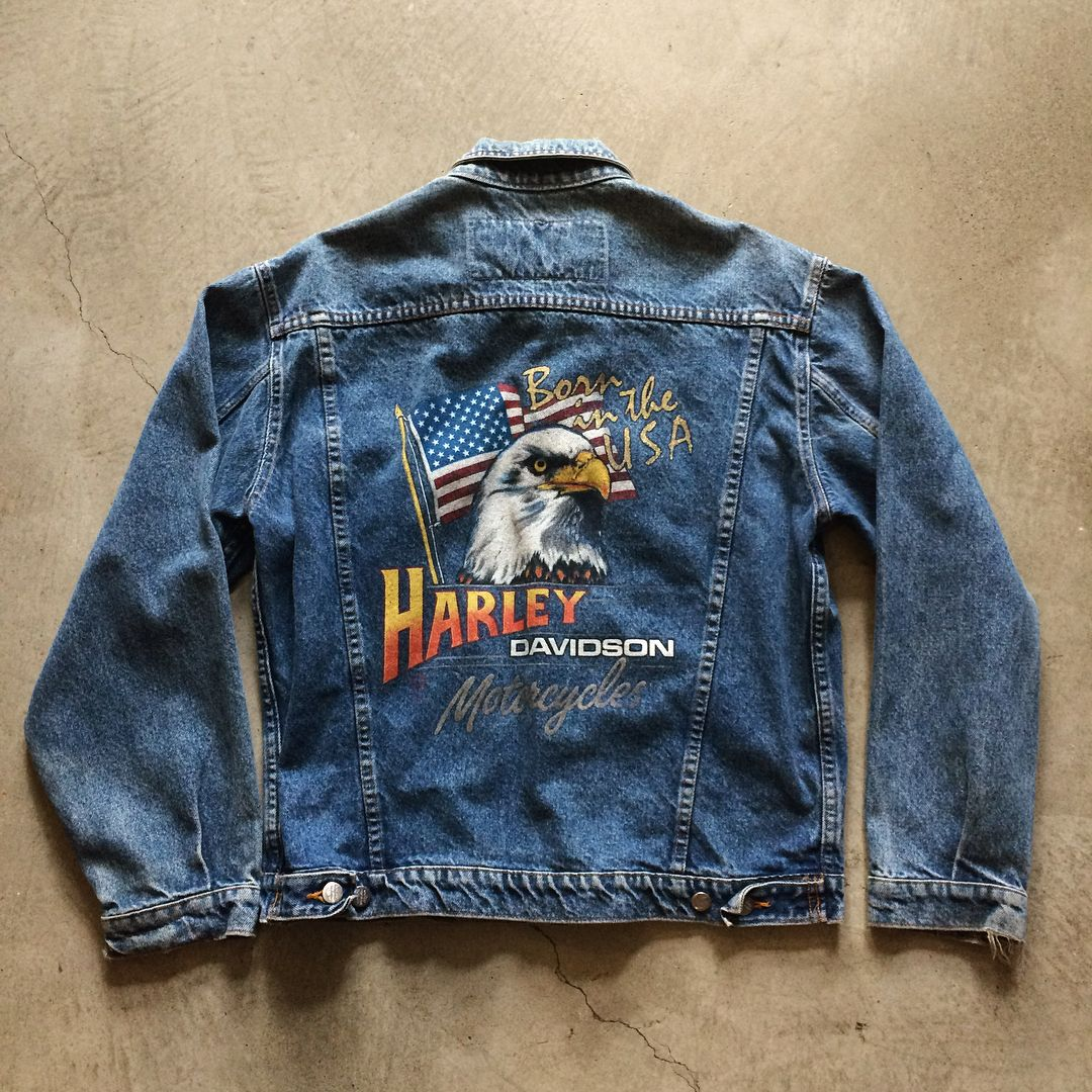 5d14ffeccbee 90's Harley-Davidson denim jacket with back print, men's size M, $45+$16  domestic shipping. Call 415-796-2398 to purchase or PayPal  afterlifeboutique@gmail ...