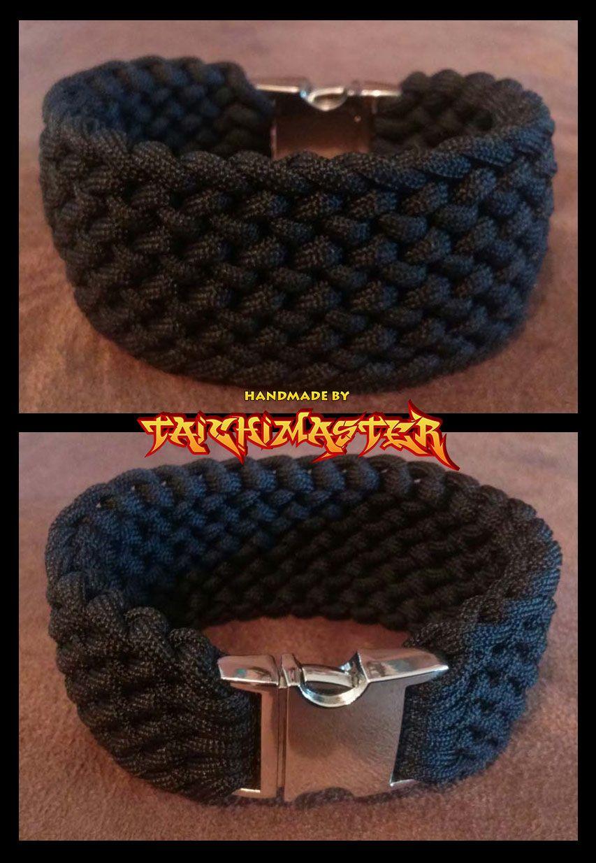 Wide Black Conquistador Survival Bracelet With Images Paracord