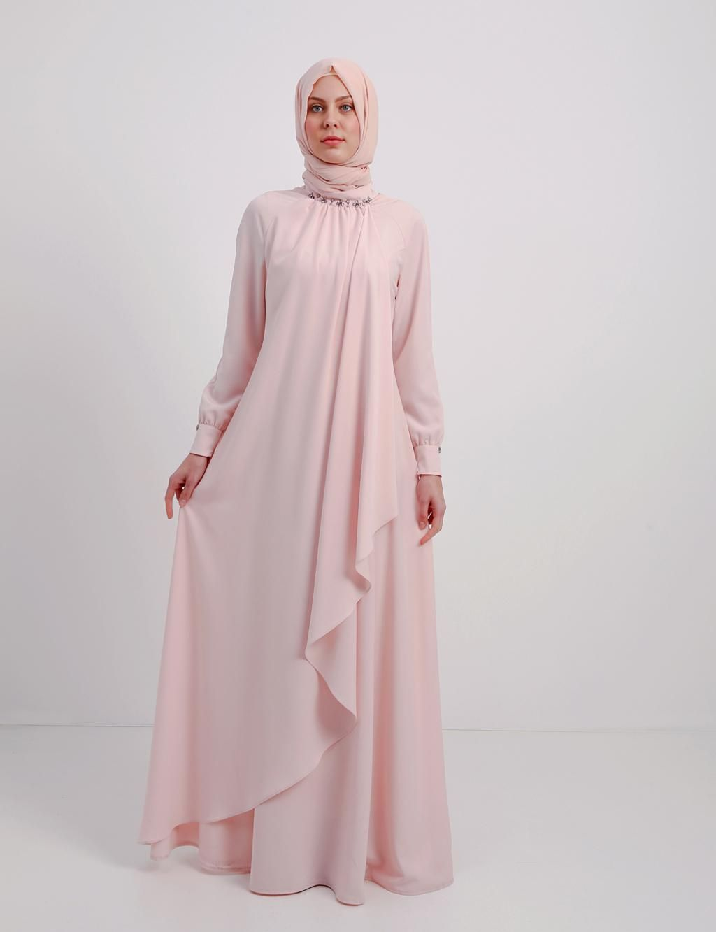 Kayra Pembe Bol Tesetturlu Elbise B4 23066 Elbise Pudra Giyim Elbise Elbiseler