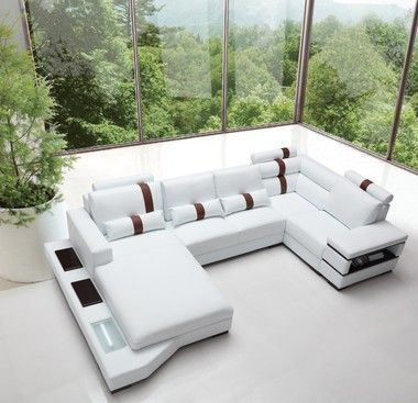 Contemporary White Bonded Leather Sectional Sofa With Light in 2019 ...