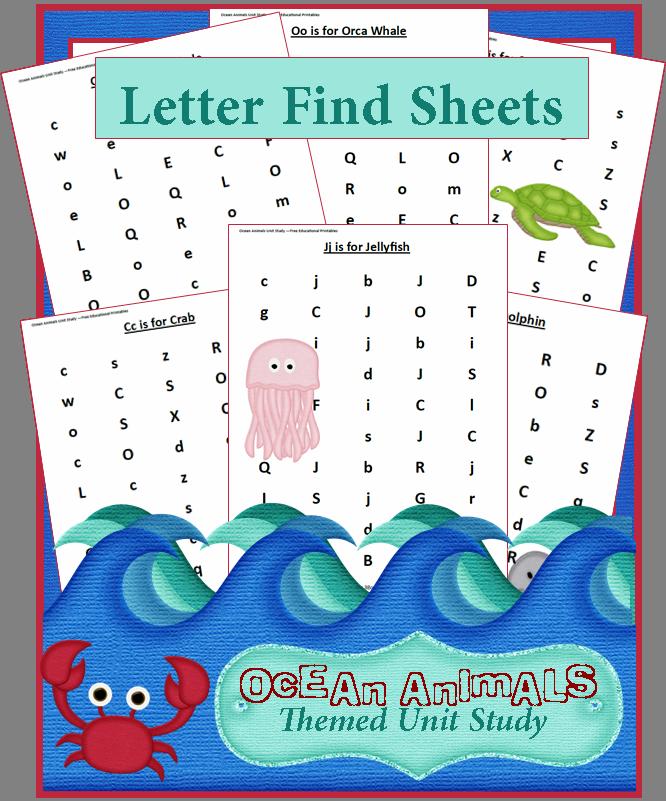 ocean animals unit study find a letter worksheets 3 boys and a dog letter worksheets. Black Bedroom Furniture Sets. Home Design Ideas