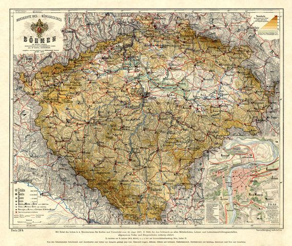 Bohemia map (Czech Republic) - Vintage map print - 16 x 19 - copy world map poster the range