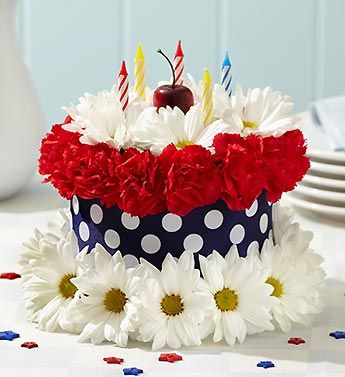 Give Three Cheers And Multiple Smiles With This Liberty Dreams Flower Cake Flower Cake Birthday Flowers Birthday Cake With Flowers