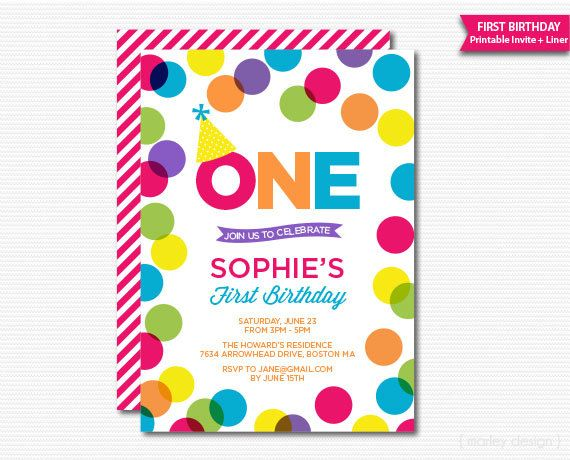Colorful First Birthday Invitation Polka Dots by MarleyDesign – Polka Dot First Birthday Invitations