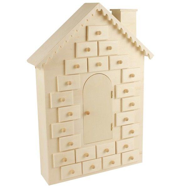 Calendrier De Lavent En Bois A Decorer Pas Cher.Calendrier De L Avent A Decorer Maison En Bois 42cm