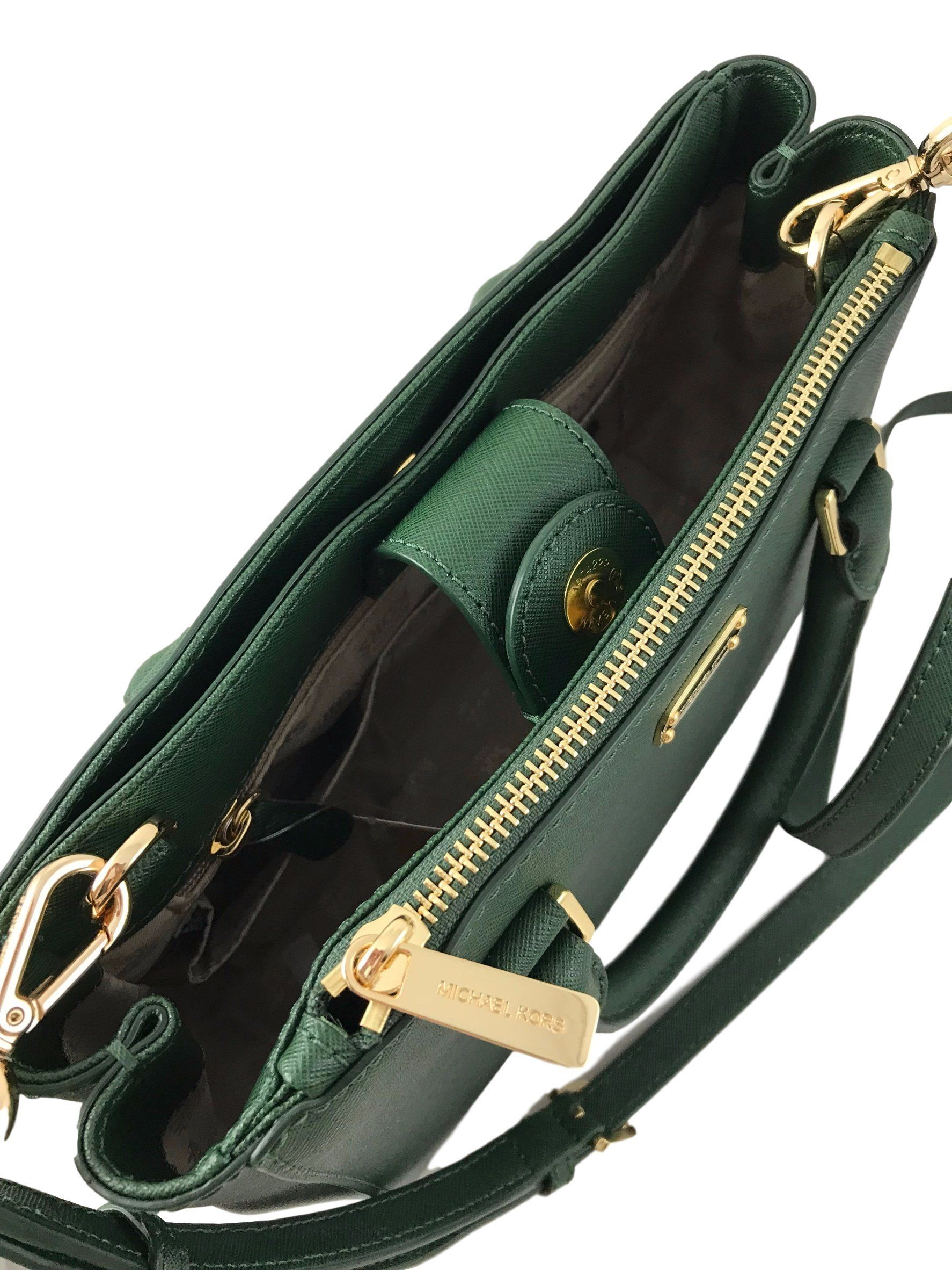 6ef00cd612 MICHAEL KORS Kellen XS Saffiano Leather Satchel Bag in Moss Green -- You  can get