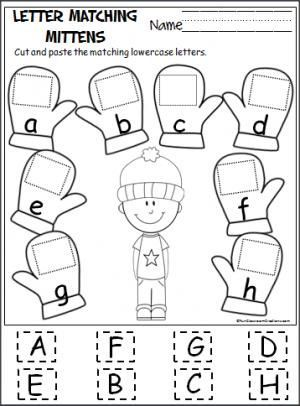 free cut and paste letter matching activity for the winter cut out the uppercase letters and. Black Bedroom Furniture Sets. Home Design Ideas
