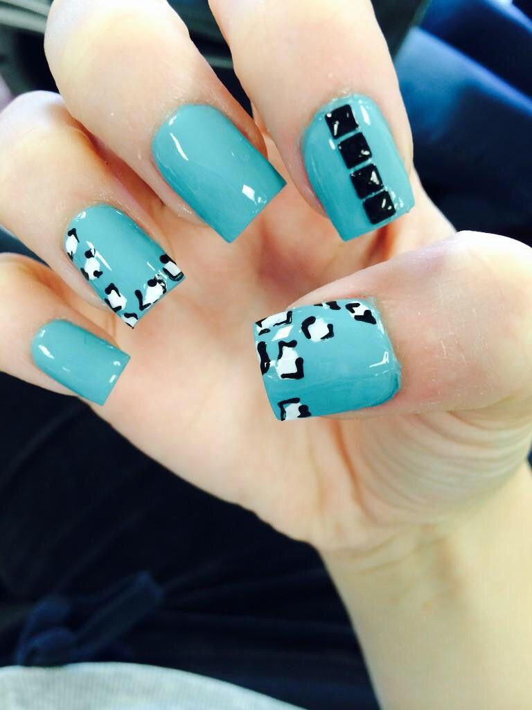 #nails #blue #cheetah #studs