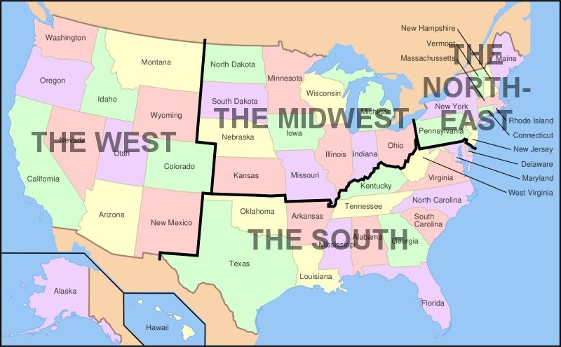 Map Of South Us U.S. Regions: West, Midwest, South and Northeast | Usa map, South