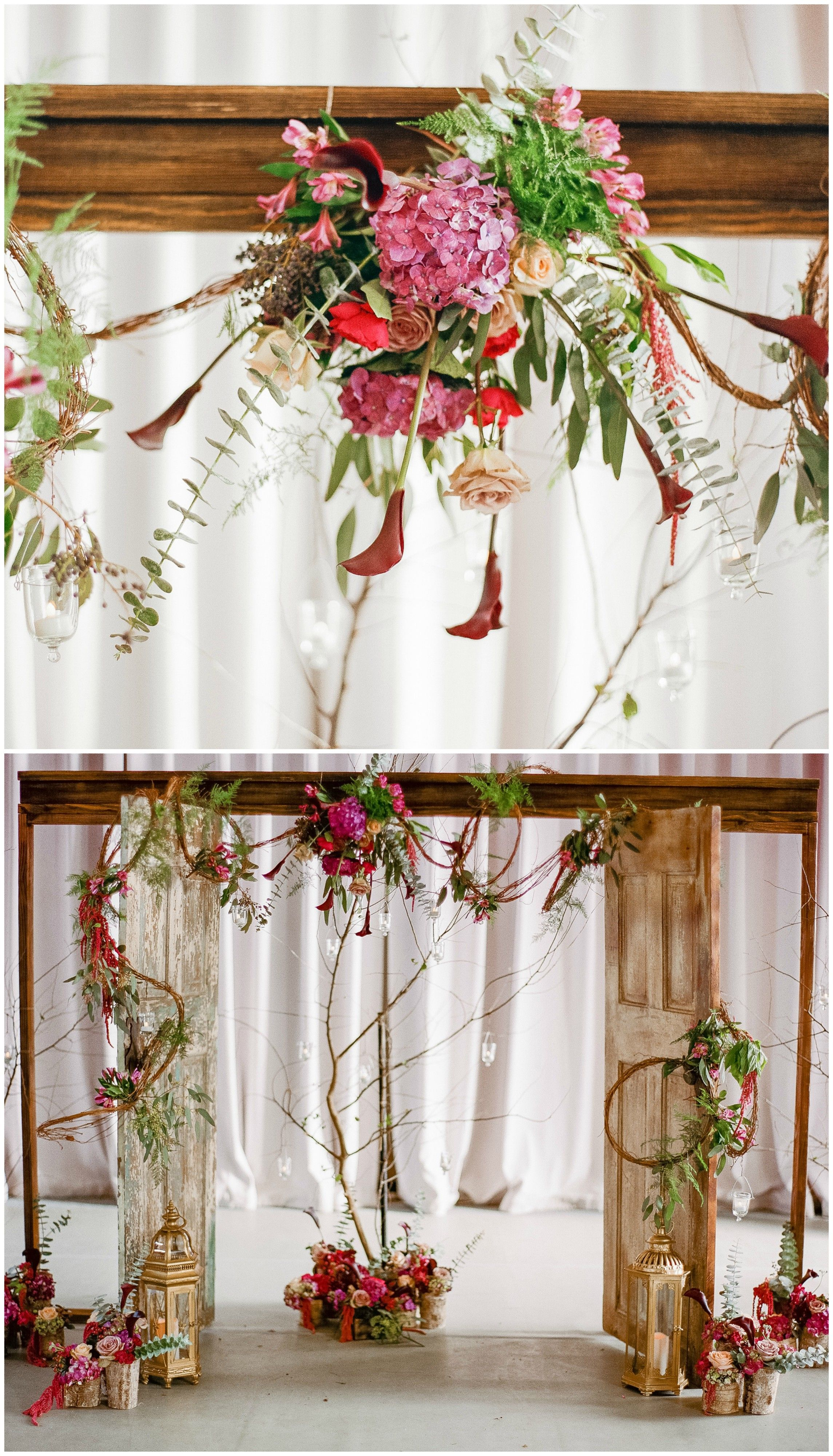 Romantic Indoor Wedding Ceremony, Shabby Chic Doors, Wooden Wedding Arbor,