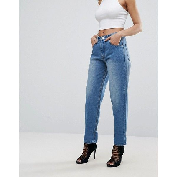 PrettyLittleThing Boyfriend Jeans (£31) ❤ liked on Polyvore featuring jeans, blue, highwaist jeans, relaxed fit boyfriend jeans, blue jeans, tall jeans and high rise jeans