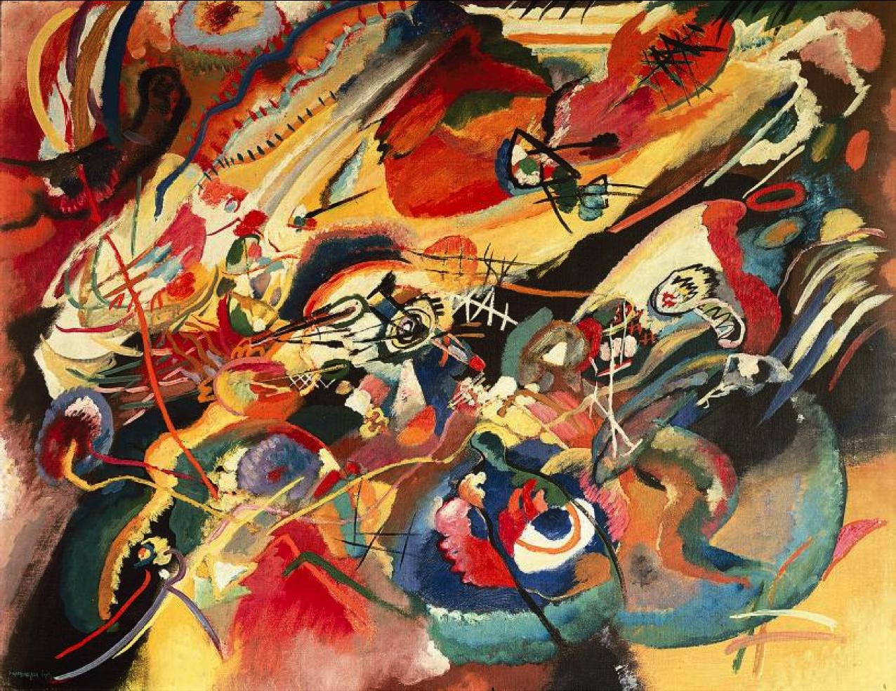 Schets I voor Compositie VII ~ 1913 ~ Olieverf op doek ~ 78 x 100 cm. ~ Verzameling Felix Klee, Bern