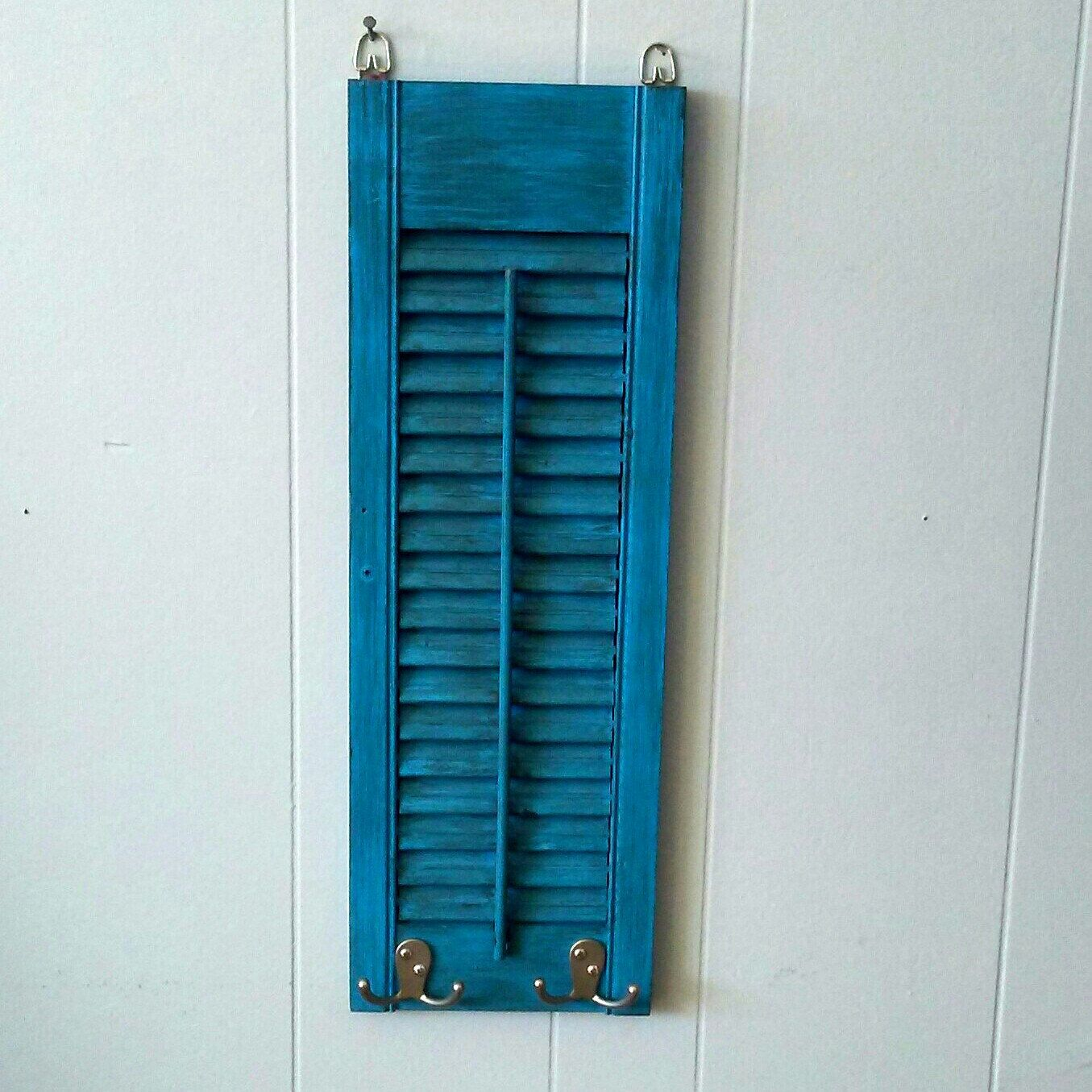 Blue Towel Rack, Reclaimed Wood, Coffee Mug Holder, Blue Robe Hooks ...