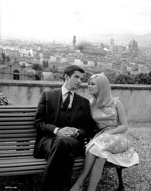 """Yvette Mimieux and George Hamilton during the filming of """"Light in the  Piazza""""   Yvette mimieux, George hamilton, Romantic films"""