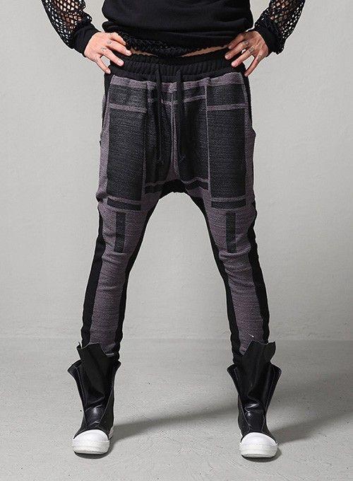 Geo Square Patterned Drop Crotch Sweats Pants $50.40  #men #fashion #style #street #pants #sweats #pattern #dropcrotch #black #charcoal
