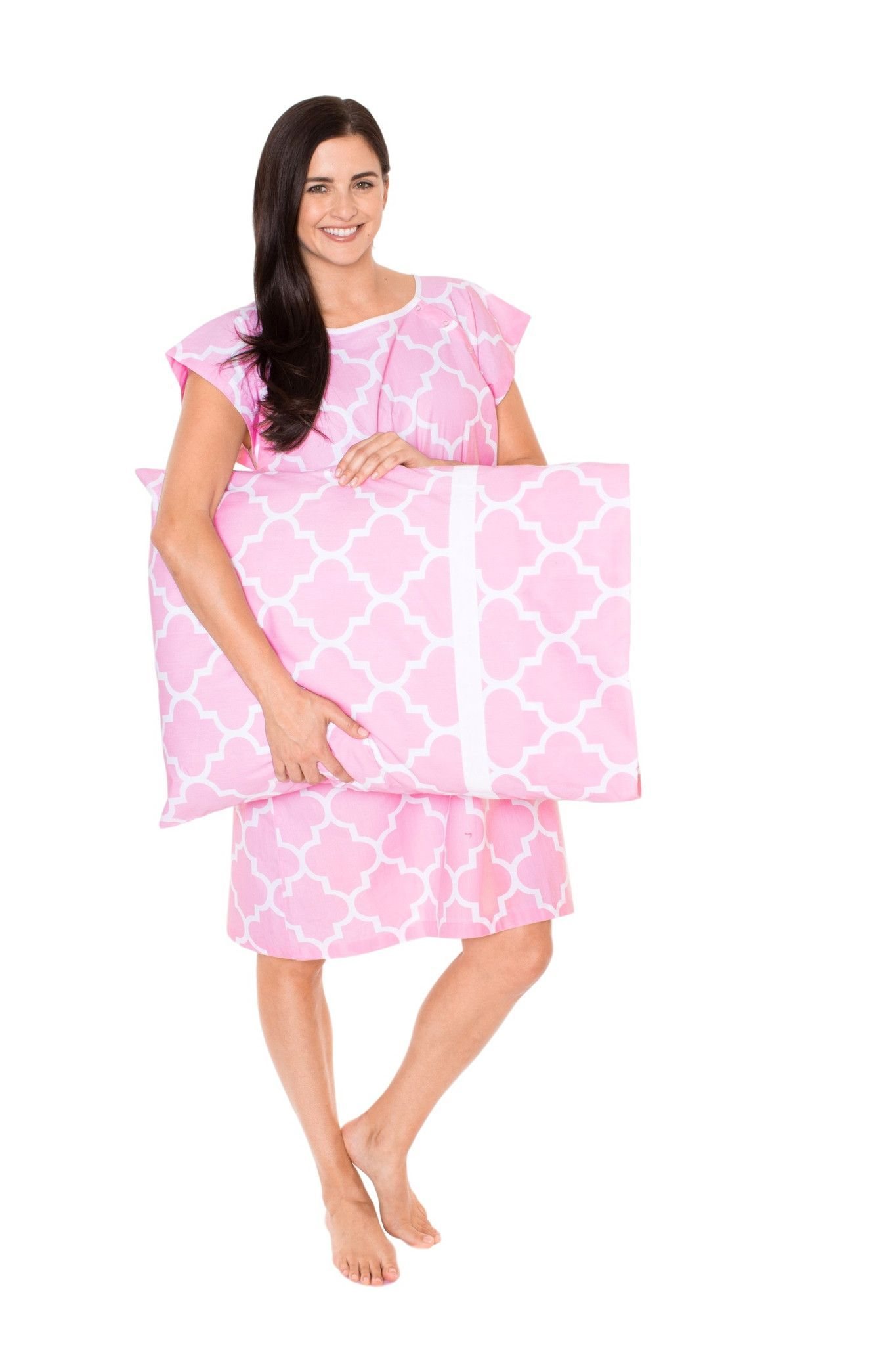 emily maternity labor delivery hospital gown gownie & pillowcase set