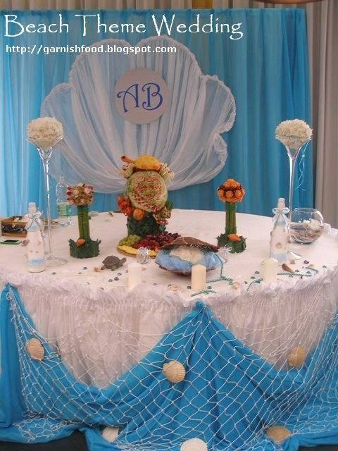 Marvelous Beach Theme Wedding Decoration Ideas Part - 10: Beach Theme Wedding Decoration Fruit Carving Display