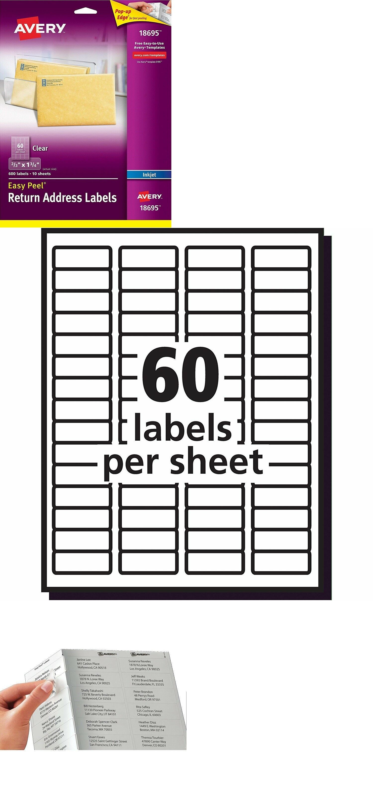 Printer Paper 86728 Avery 18695 Clear Address Labels 2 3 X 1 3 4 Easy Peel 600 Labels 10 Sheets Buy It Now Only Clear Address Labels Labels Mailing Labels