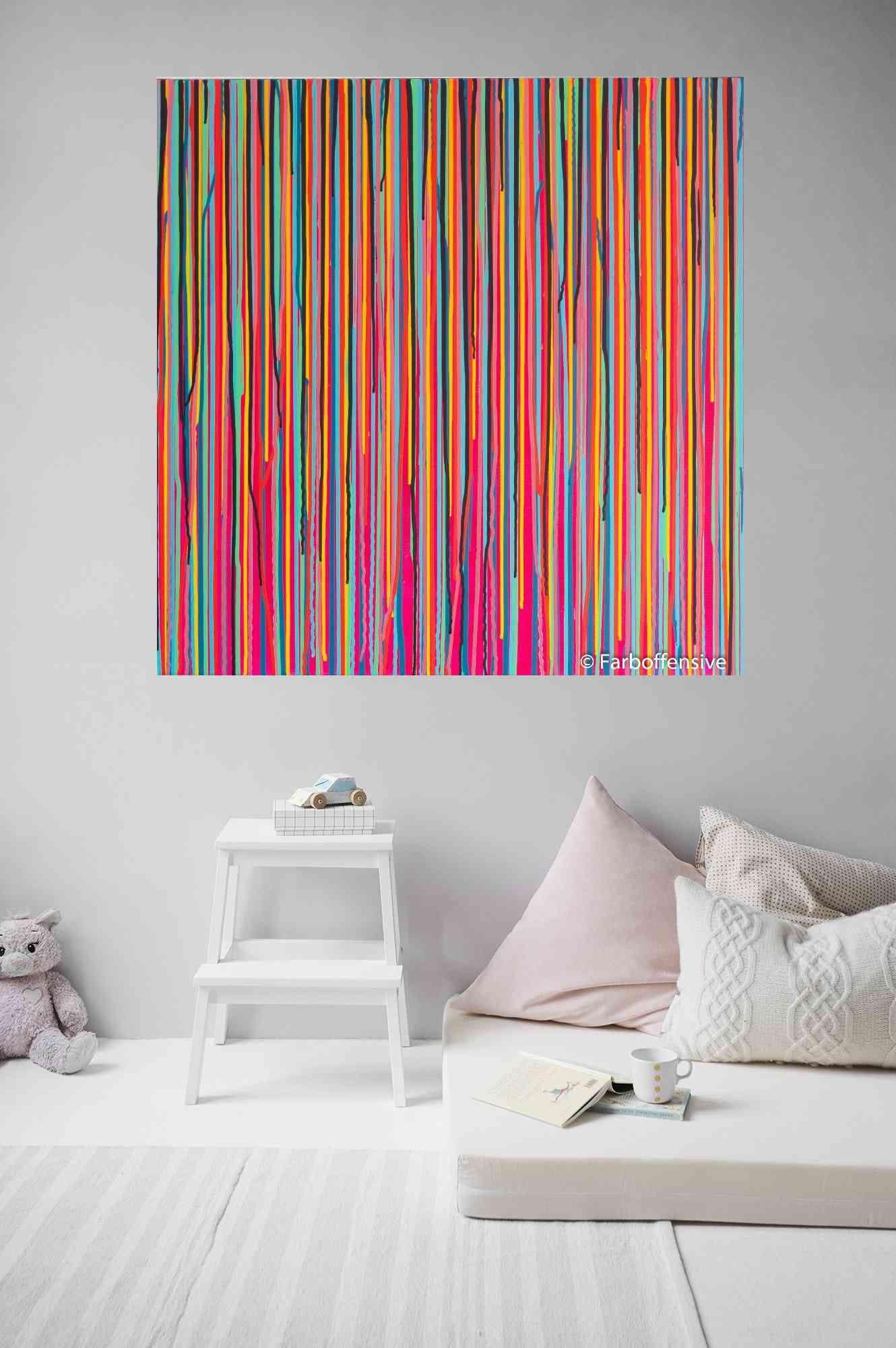Acrylbild, Acrylbilder Abstrakte Malerei, original, Acryl, modern, abstract art, Gemälde, Kunst, bunt, pink , Leinwand, 80x80cm