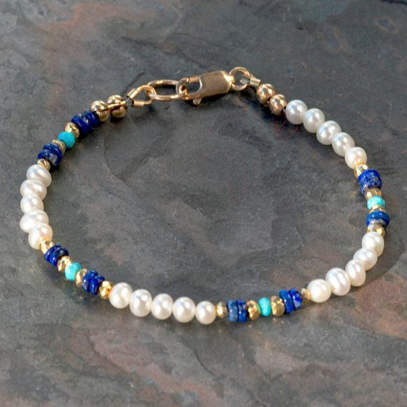 White pearl bracelet with natural lapis lazuli, original sleeping beauty turquoise, gold pyrite, 14K gold filled clasp and findings, handmade#14k #beauty #bracelet #clasp #filled #findings #gold #handmade #lapis #lazuli #natural #original #pearl #pyrite #sleeping #turquoise #white