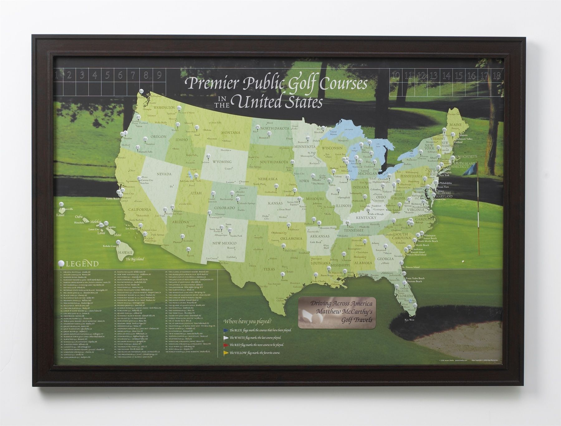 USA Golf Course Push Pin Map Surprise  Delights Retirement - Map of usa golf courses