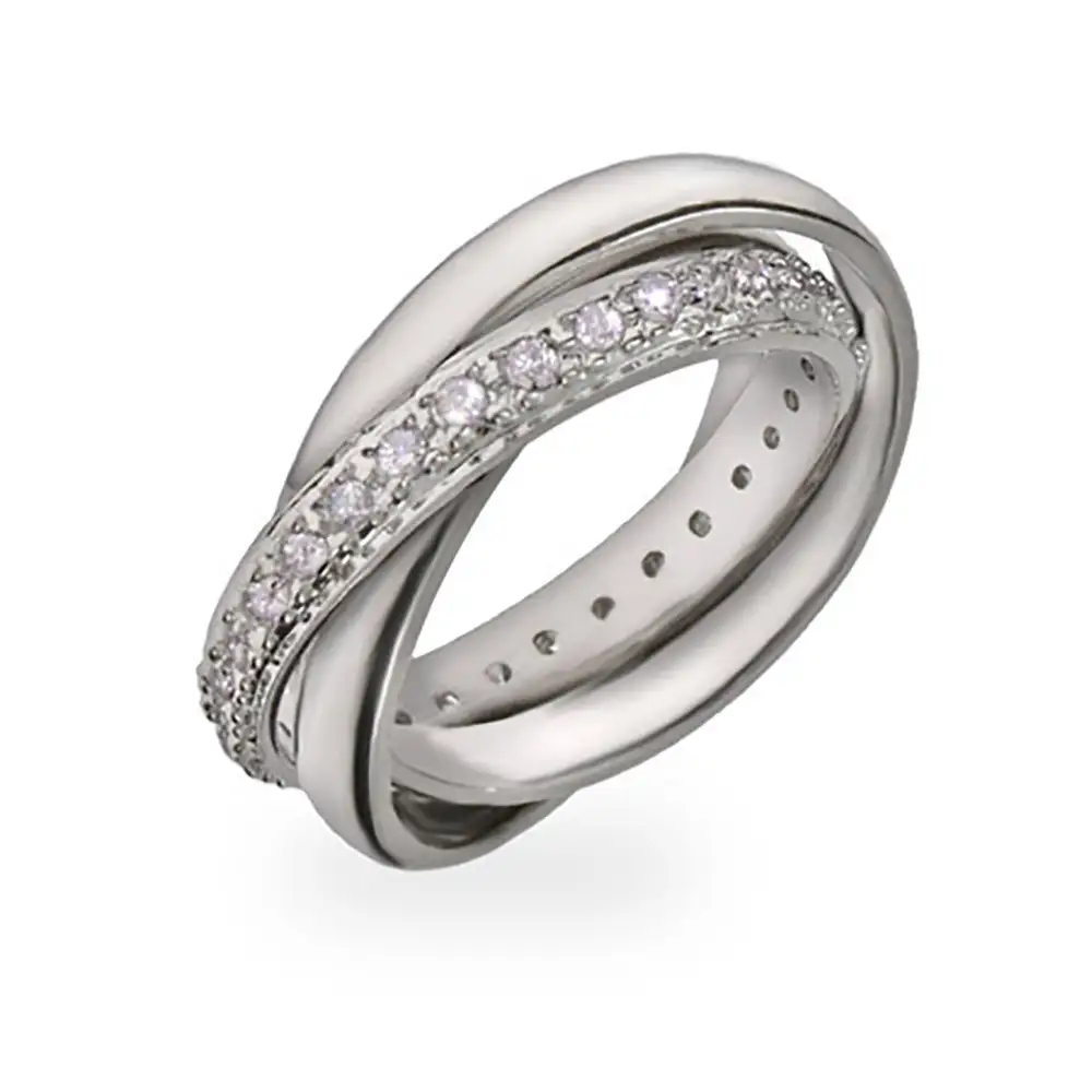 Designer Style Russian Wedding Ring with CZ Band Diamond