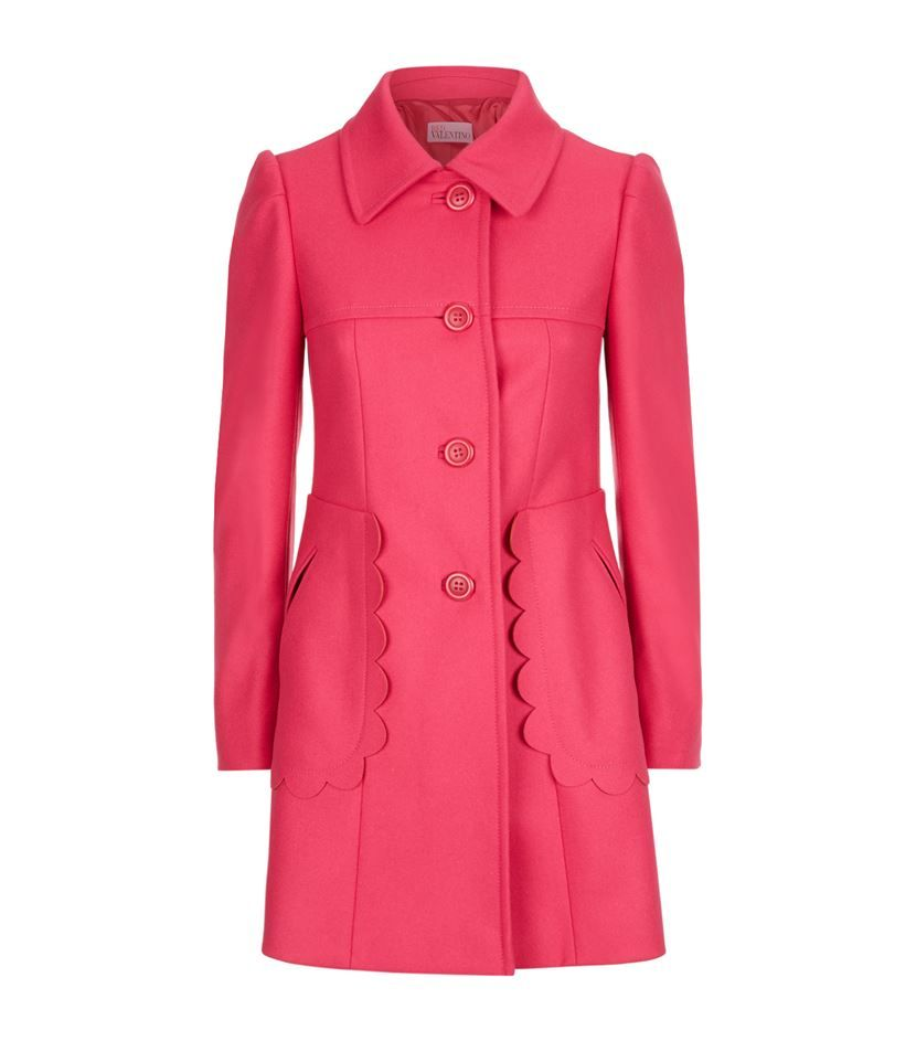 Women's Pink Fitted Scallop Trim Coat | Pink, Coats and Clothing