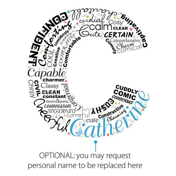 Positive Words Start With Letter C Alphabet C Monogram Positive