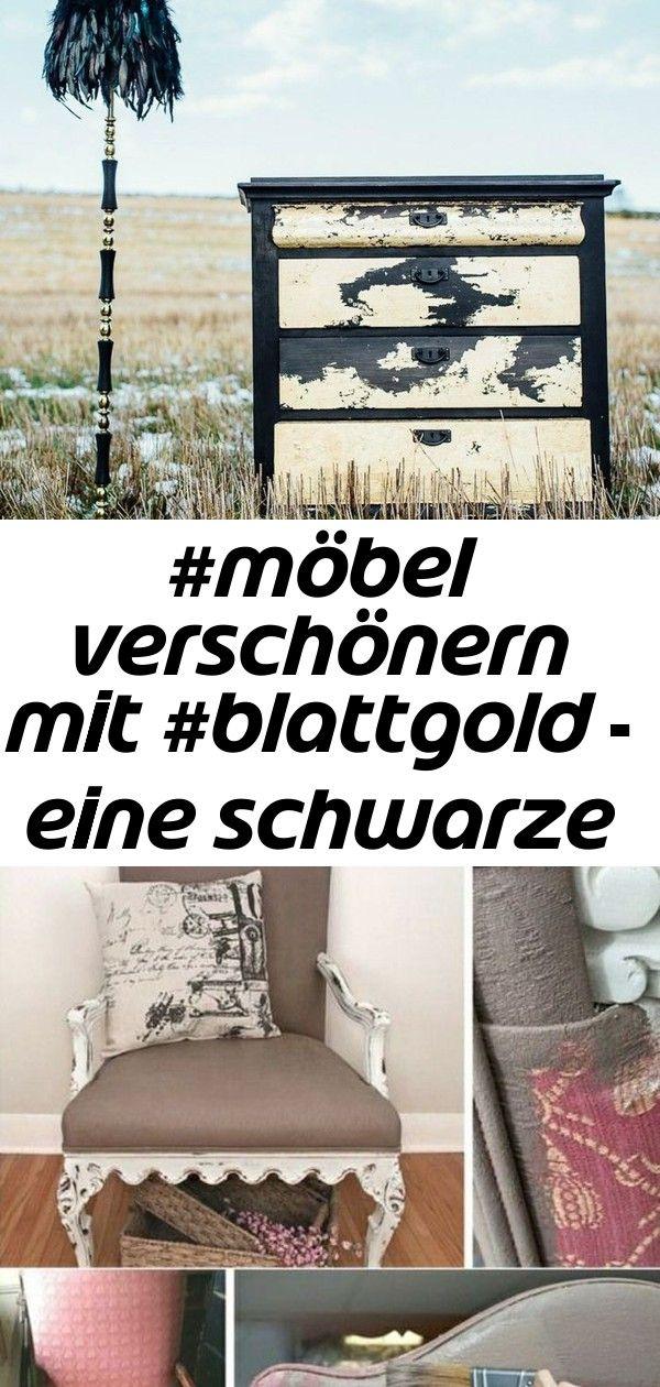 #möbel verschönern mit #blattgold - eine schwarze #kommode mit #gold akzent 3 #altesholz