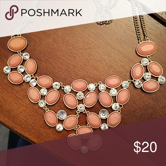 Statement necklace Pink and crystal. Double chain is a matte gold Francesca's Collections Jewelry Necklaces