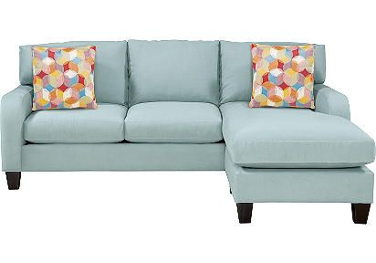 Beachy Blue Microfiber Sleeper Sofa With Chaise Design