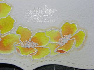 Spreading Ink Technique using heat embossing. note blush colored pen outlining images after they're colored to pop them