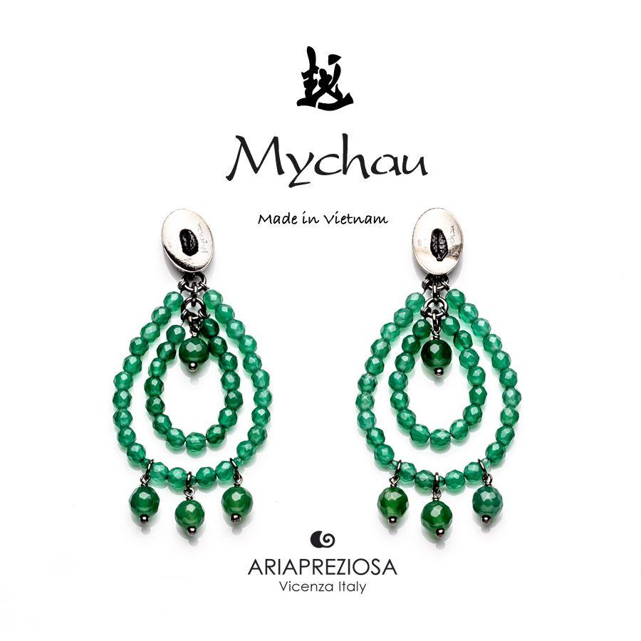 """Mychau - Coppia di orecchini Vietnam """"Big Cluster"""" a due gocce, originali, realizzati in Argento 925‰ e pietre naturali Agata Verde. Chiusura a farfalla"""