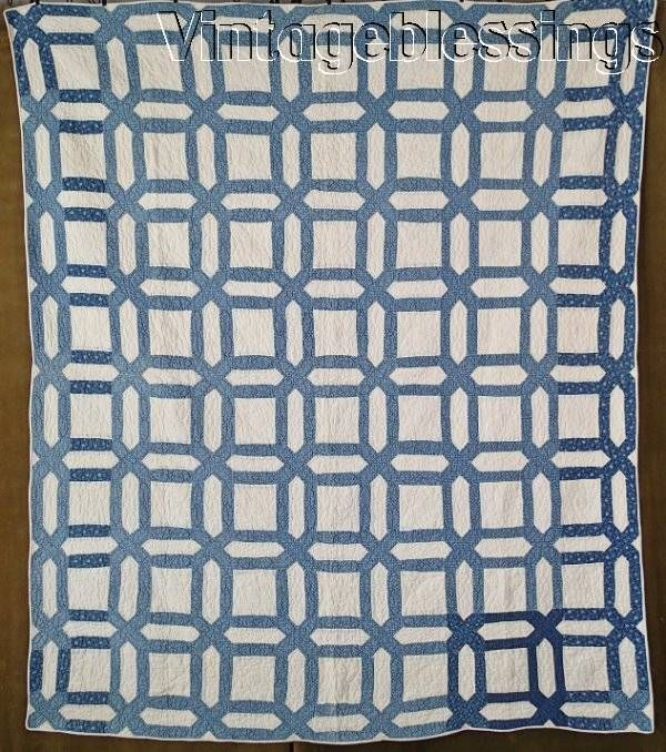 "Wonderful! Antique c1880s Indigo Blue & White Garden Maze QUILT 67"" x 57"" 