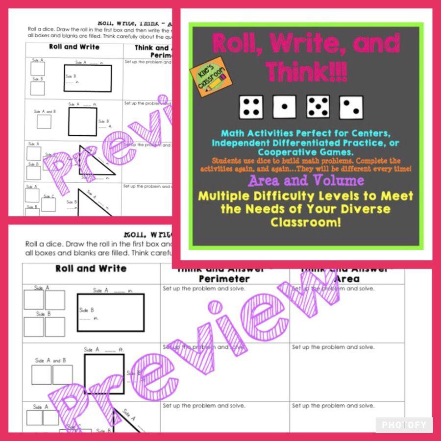 Geometry Roll, Write, Think - Area, Perimeter and Volume Math Skills ...