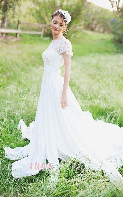 Jewel short sleeve long chiffon wedding dress with sash and lowv